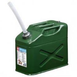 BIDON de Metalico de Acero Galvanizado Verde Militar para GASOLINA 10 Litros HOMOLOGADO. Incluye Tubo Flexible.