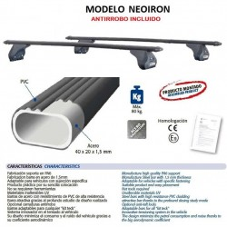 Juego de 2 barras para Ford TRANSIT CONNECT y TOURNEO CONNECT de 2002 a 2014. Modelo NEOIRON.