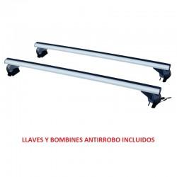Juego de 2 Barras Aluminio LONGPLAY ALU para KIA CARENS (Con Railing Integrado), de 2013 en adelante. Ref: 14910472124.