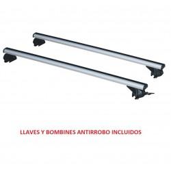 Juego de 2 Barras Aluminio LONGPLAY ALU para JAGUAR XF SPORTBRAKE (I), CON RAILING INTEGRADO, de 2012 en adelante.