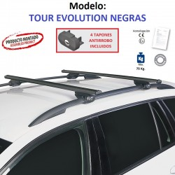 Barras de Techo en Aluminio Negro para Nissan X-TRAIL (T32), Con Barras Longitudinales, de 2014 en adelante.
