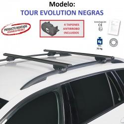 Barras de Techo en Aluminio Negro para Subaru FORESTER (IV), Con Barras Longitudinales, de 2012 a 2019.