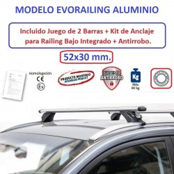 Juego de 2 Barras en Aluminio para Fiat 500X, CON RAILING INTEGRADO, de 2014 a 2023.
