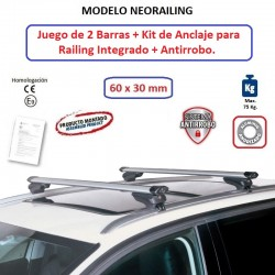 Juego de 2 Barras de Aluminio para Dacia LODGY, CON RAILING INTEGRADO, de 2012 en adelante.