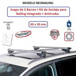 Juego de 2 Barras de Aluminio para Renault KADJAR (I), CON RAILING INTEGRADO, de 2015 a 2023.