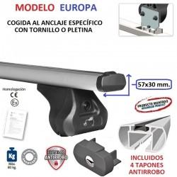 Barras de Techo en Aluminio Europa para Peugeot BIPPER, SIN BARRAS LONGITUDINALES, de 2008 a 2016.