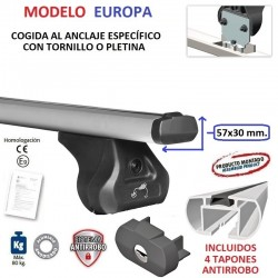 Barras de Techo en Aluminio Europa para Peugeot PARTNER (I), SIN BARRAS LONGITUDINALES, de 1996 a 2009.