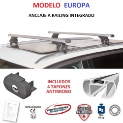 Juego de 2 Barras en Aluminio para Peugeot 5008 (II), CON RAILING INTEGRADO, de 2017 a 2024.