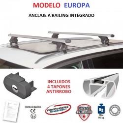 Juego de 2 Barras en Aluminio para Hyundai SANTA FE (III), CON RAILING INTEGRADO, de 2013 a 2018.